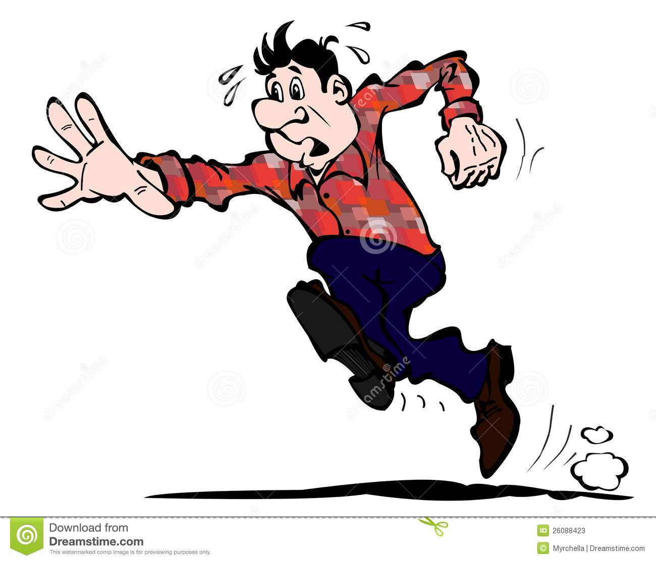 the young man quickly running forward stock illustration