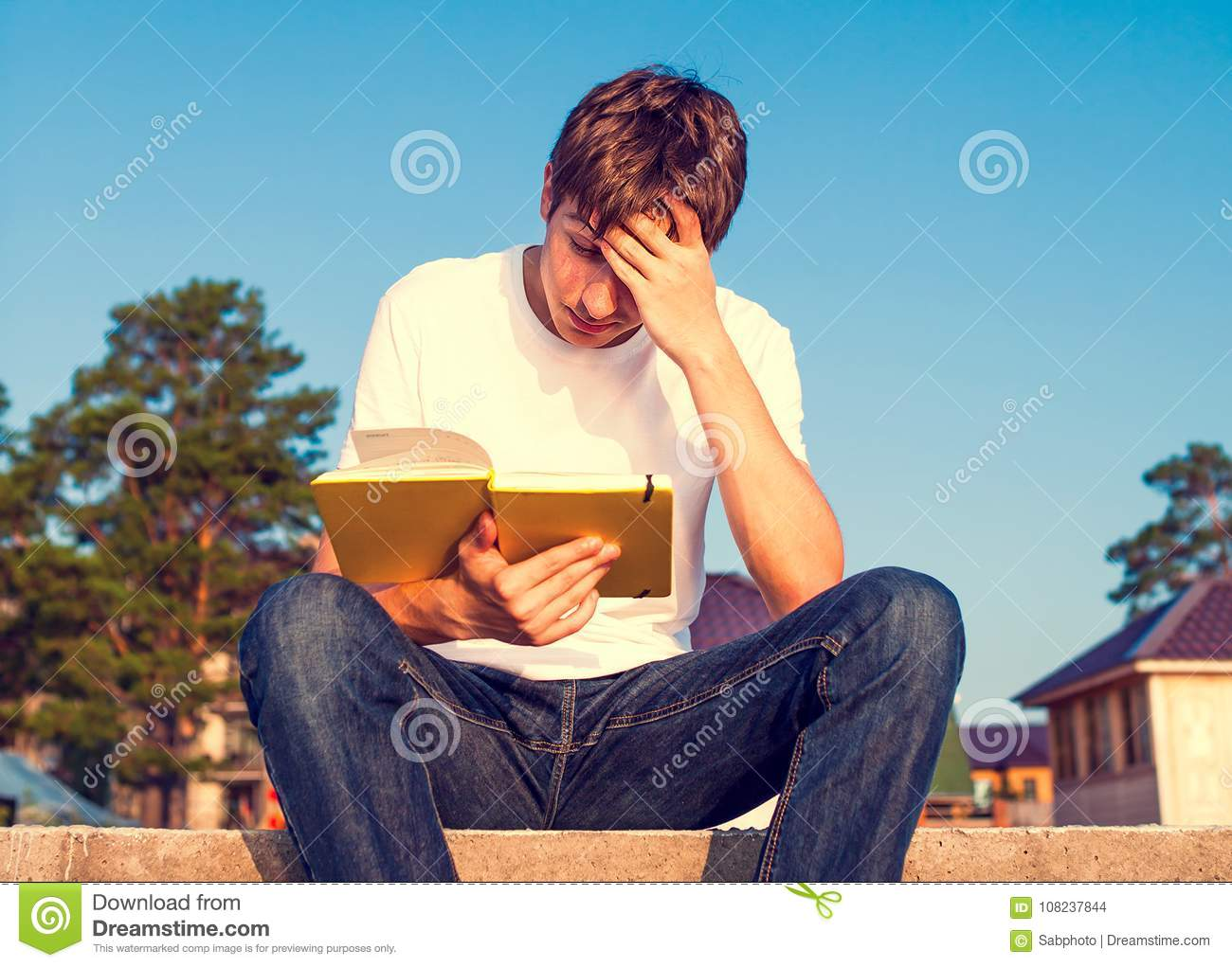 Young Man Read A Book Stock Photo Image Of Caucasian