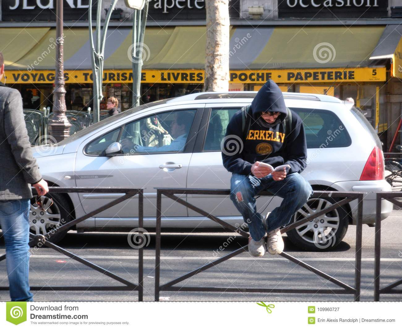 Young Man Reading in the Latin Quarter, Paris, France