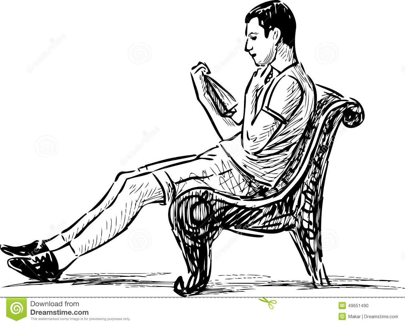 Young Man Reading A Park Bench Stock Image