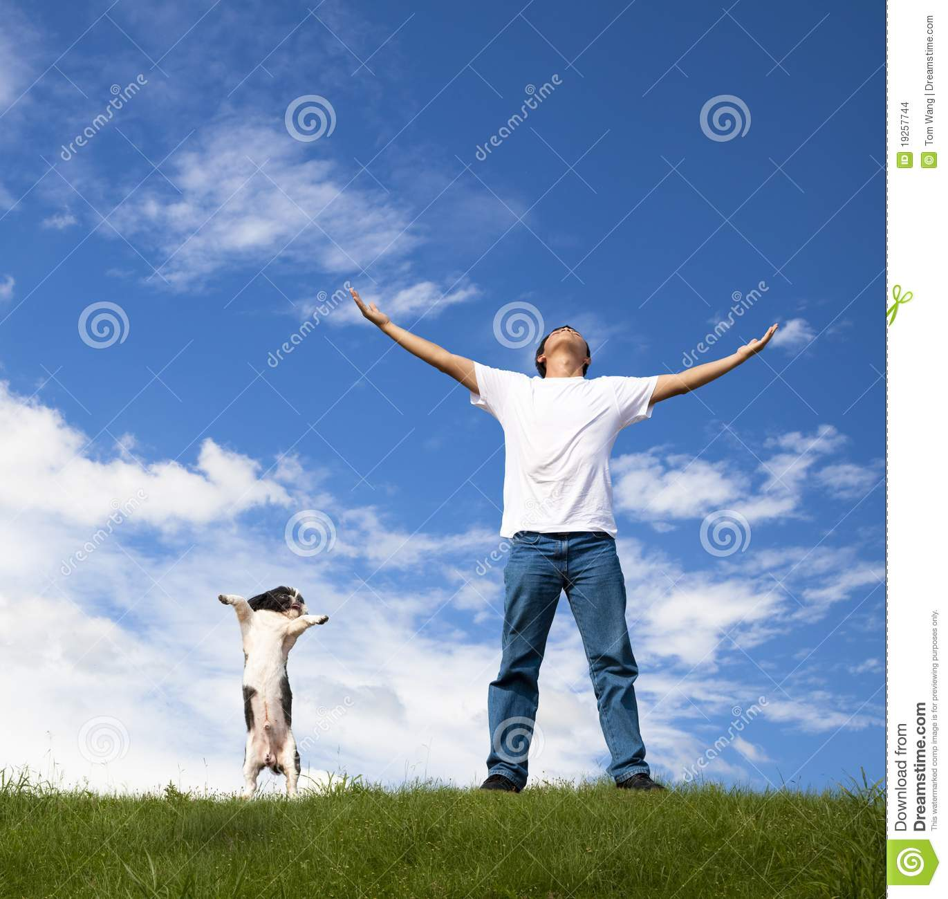 Young man relax and dog