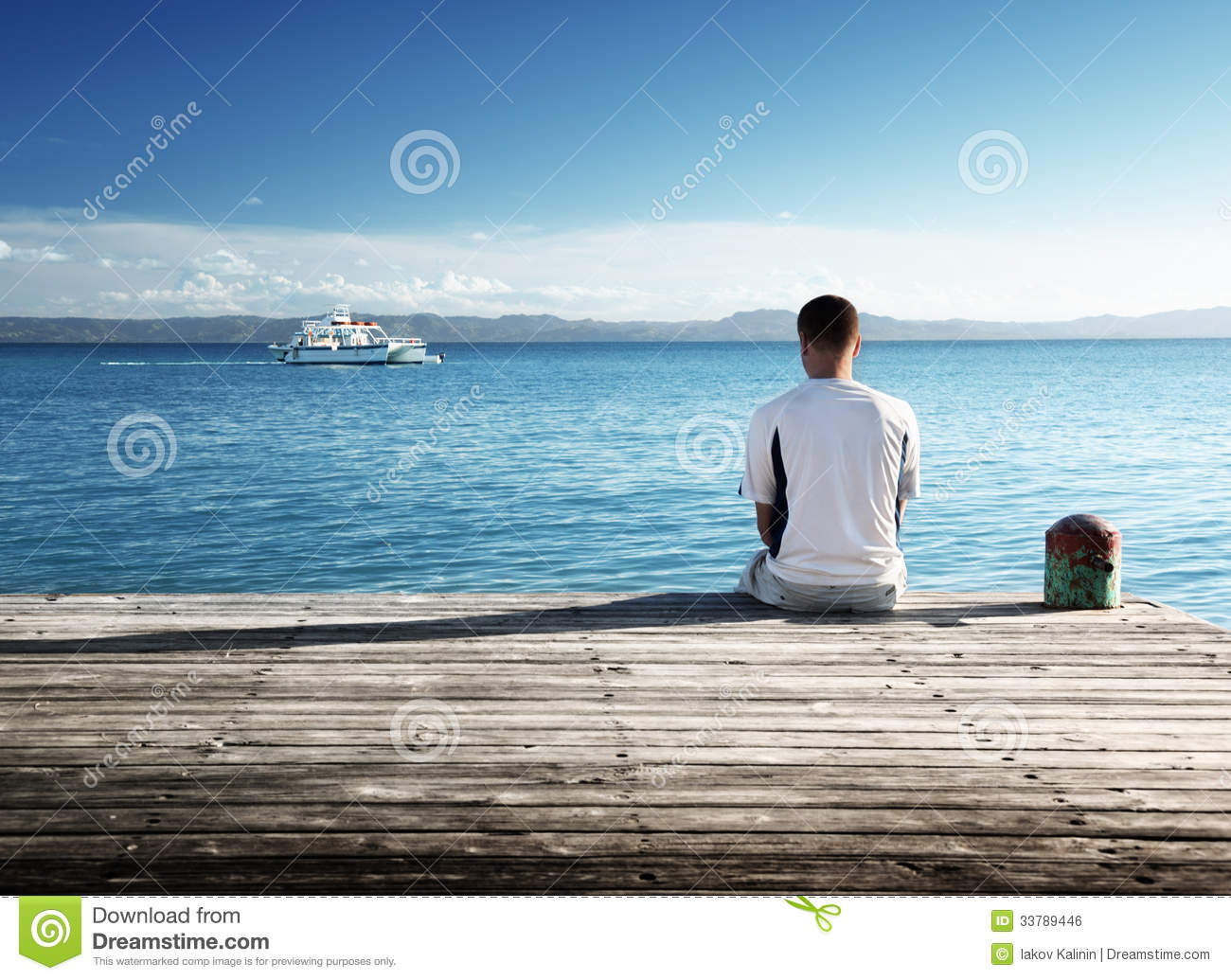 Young man relax siting
