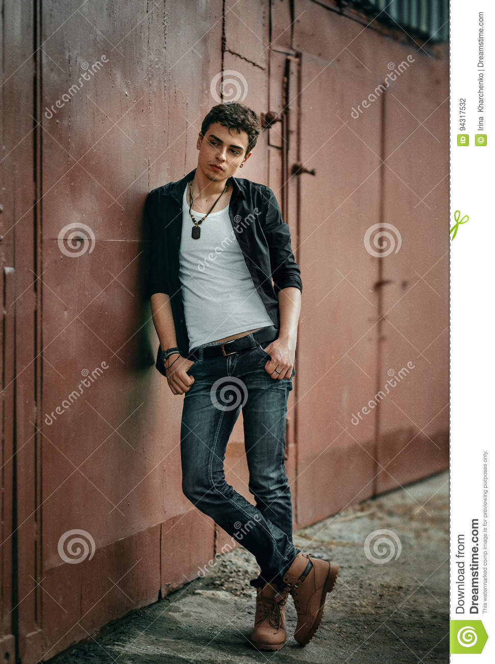 young man in rock style stock photo image of handsome 94317532