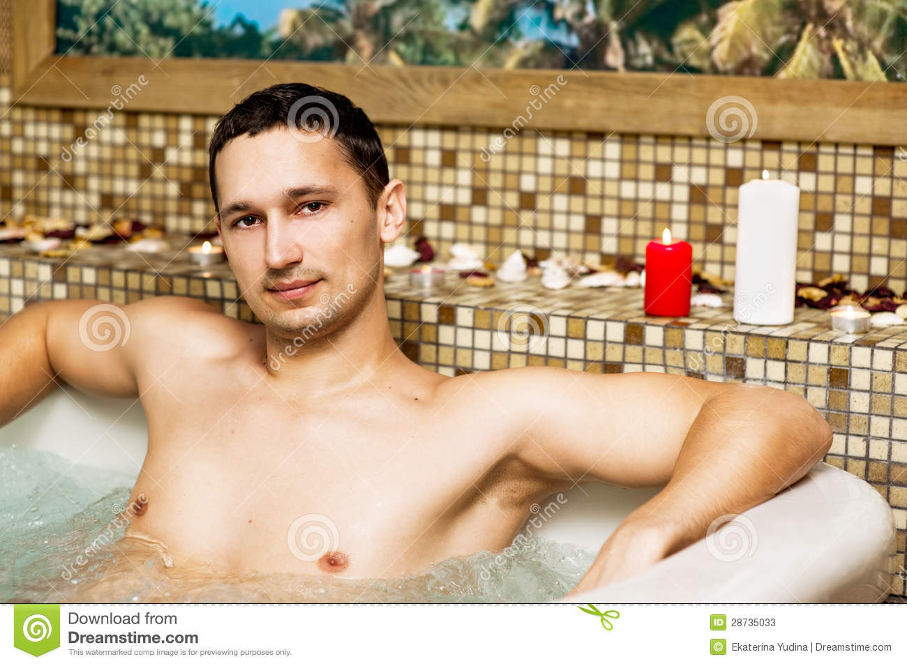 Young Man In Romantic Jacuzzi Stock Photos - Image: 28735033