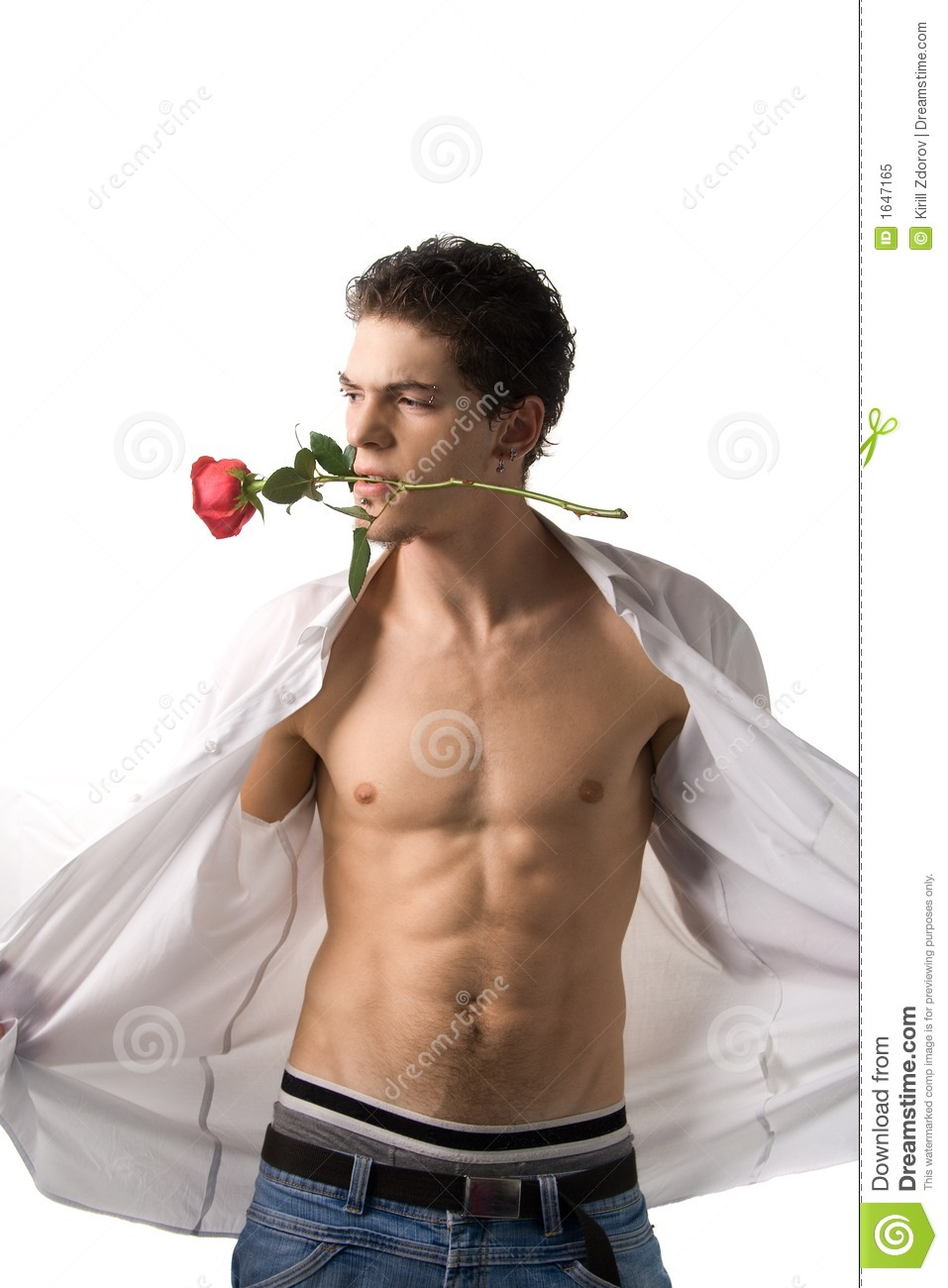 Young man with rose