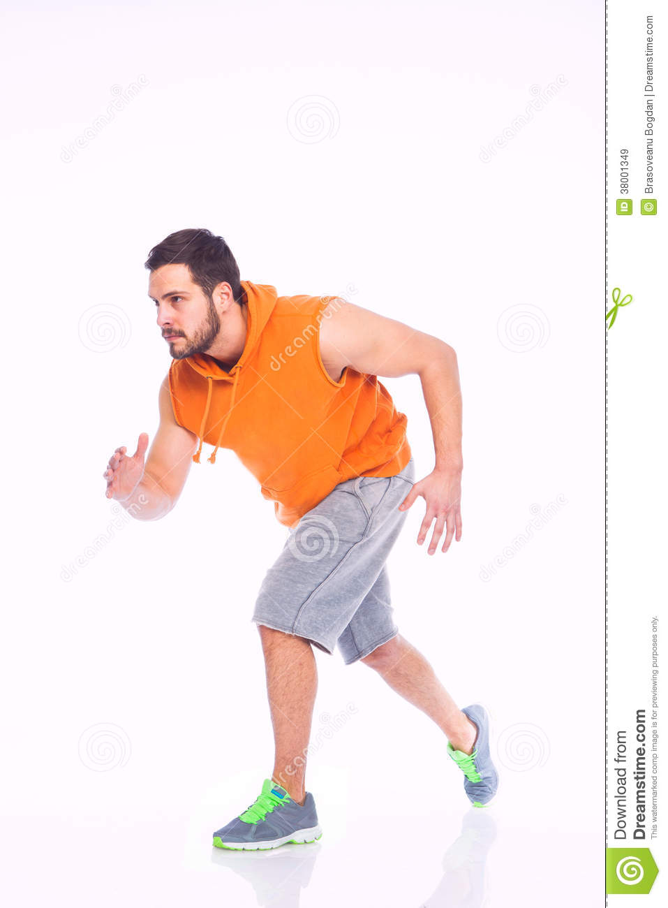 young man in running position stock image image of latinamerican