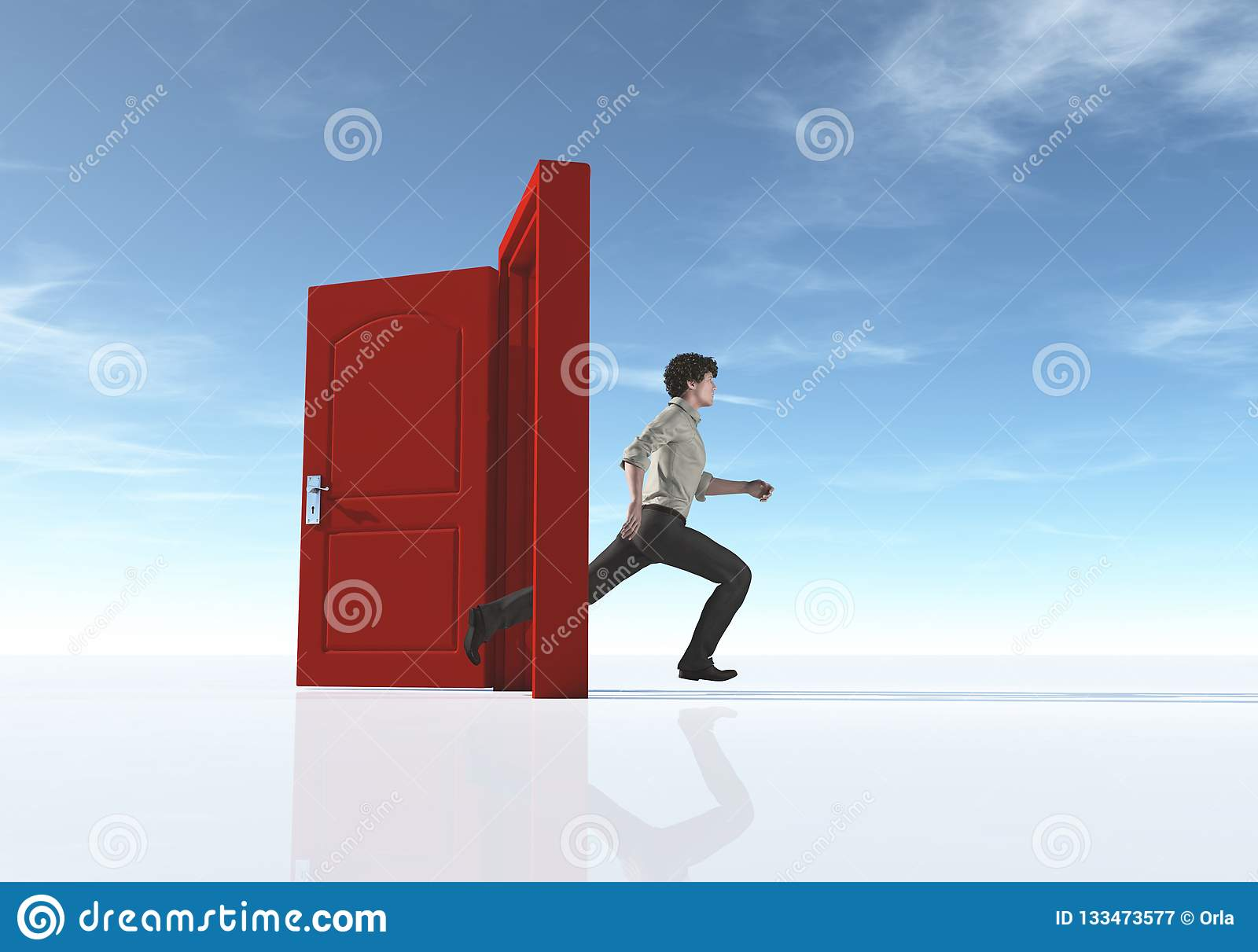 Young man running to an opened door