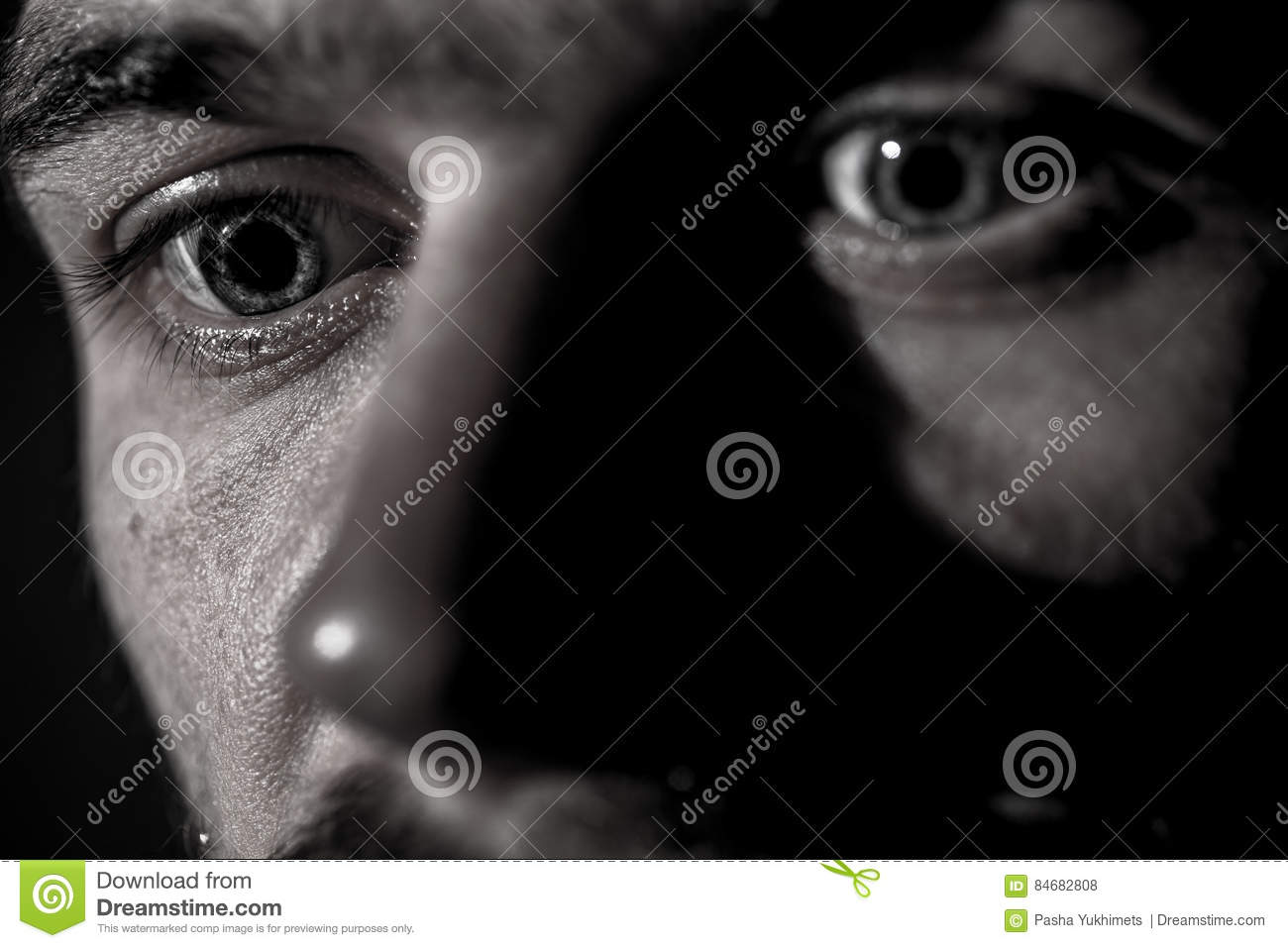 Young man sad emotions black and white photography stock photo
