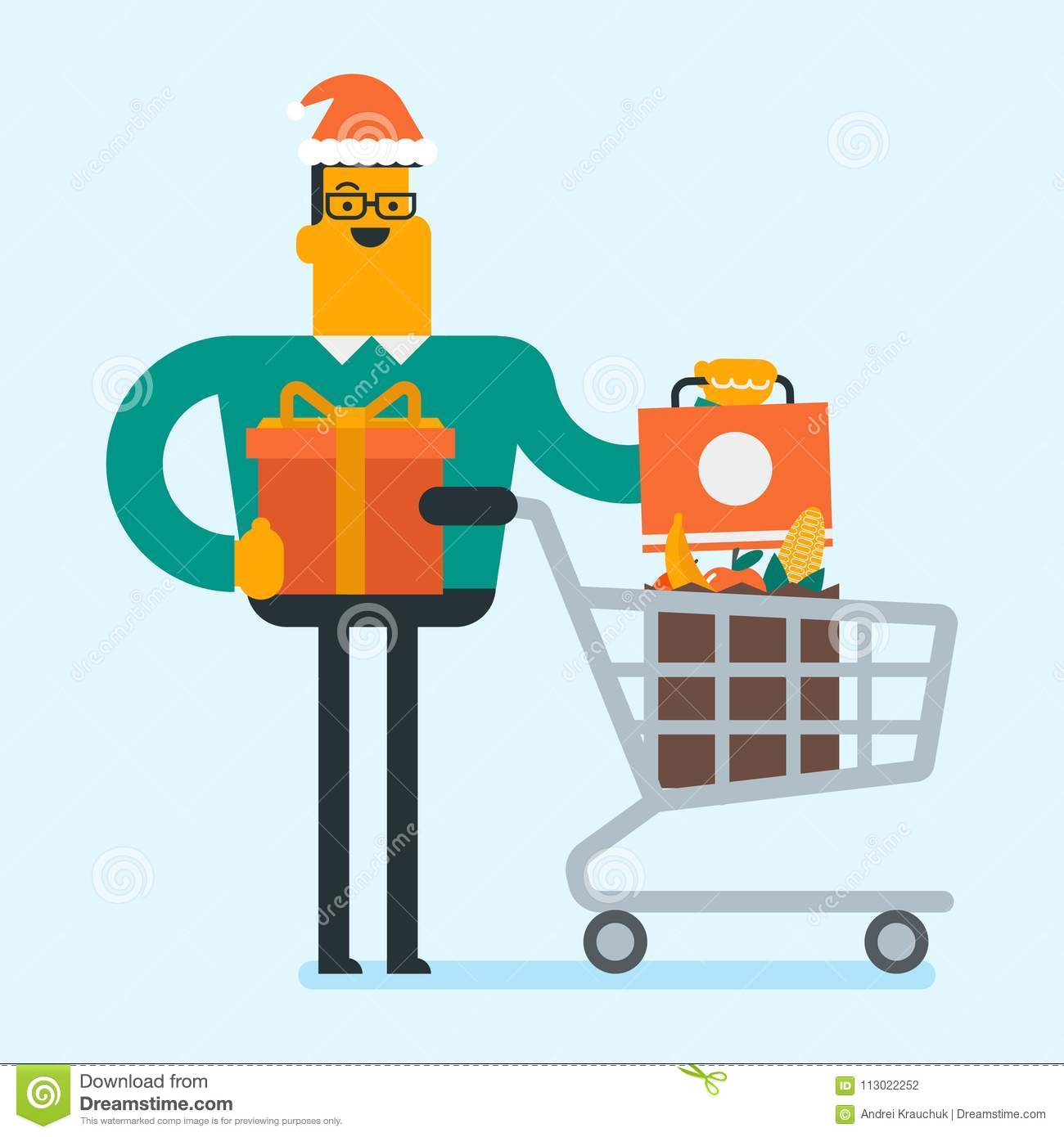 download young man in santa hat buying christmas gifts stock vector illustration of character