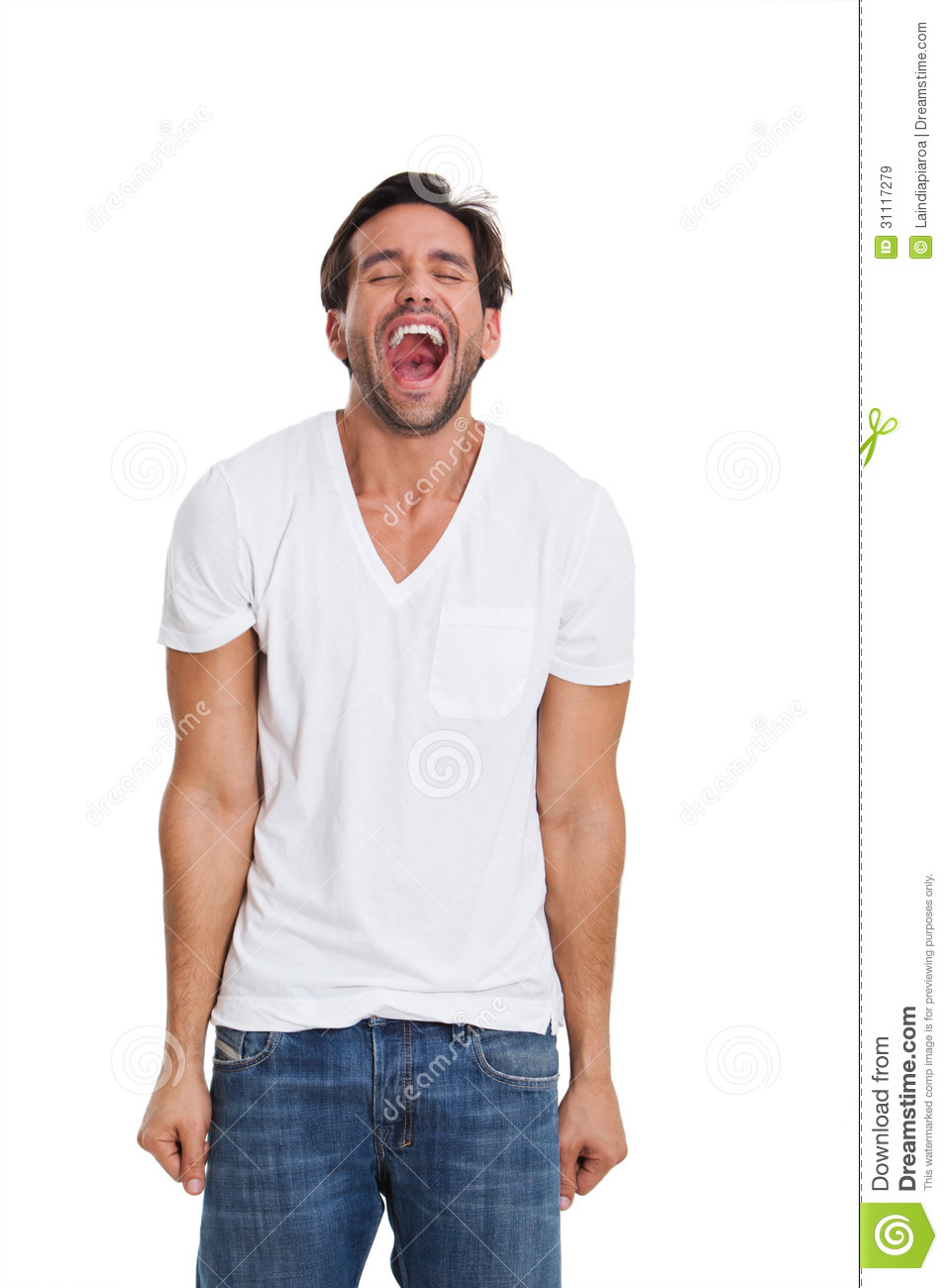 Young Man Screaming Over White Background Royalty Free Stock Images - Image 31117279