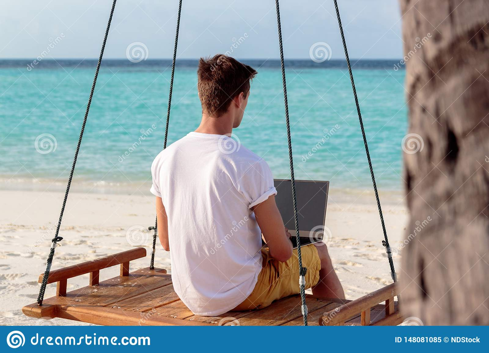 Young man seated on a swing and working with his laptop. Clear blue tropical water as background