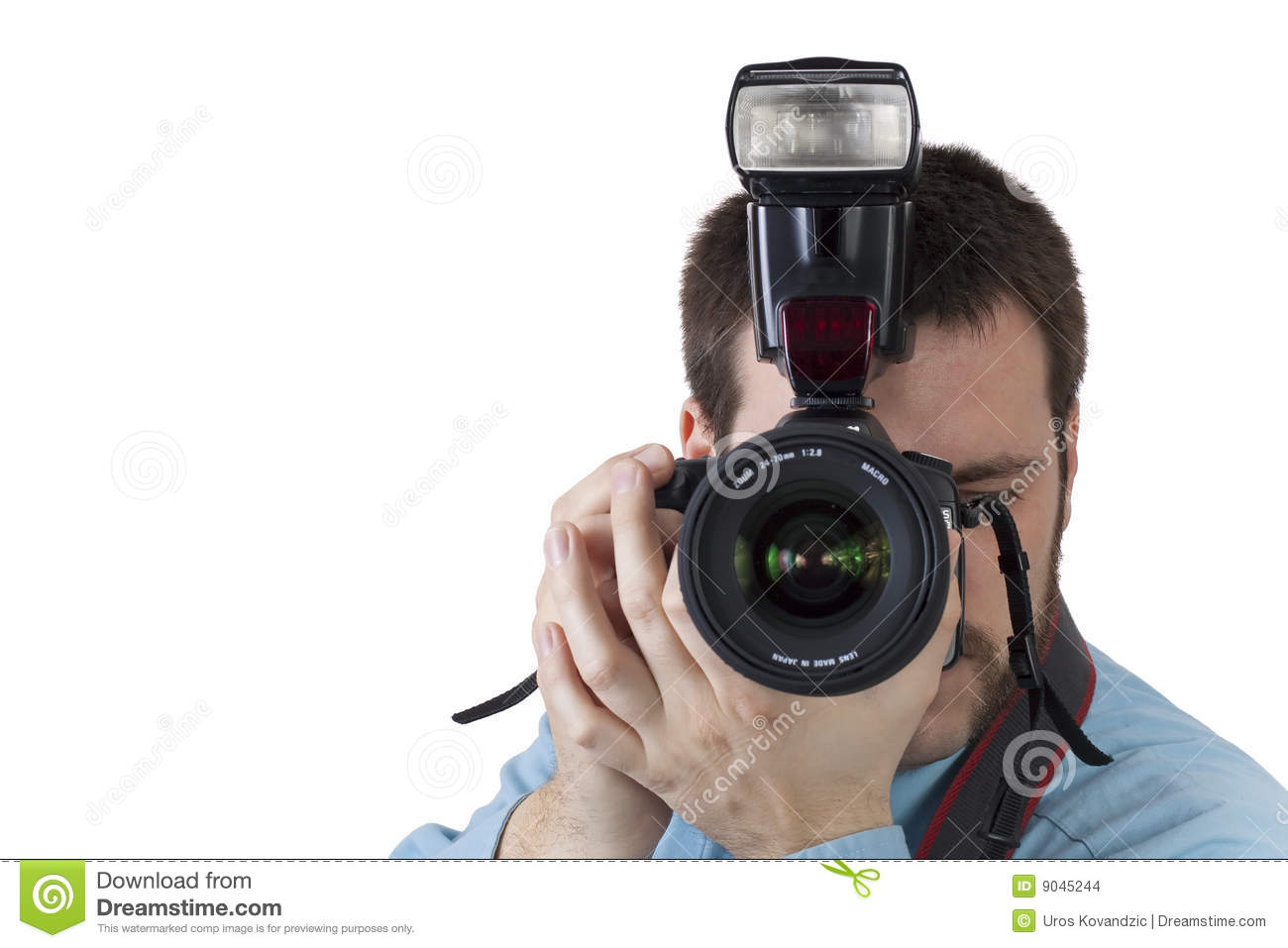 Shooting Digital Photographs Through >> Young Man Shooting With Digital Camera Stock Photo Image Of Blue