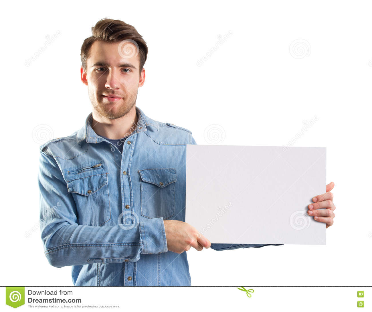 Young man showing a blank paper page