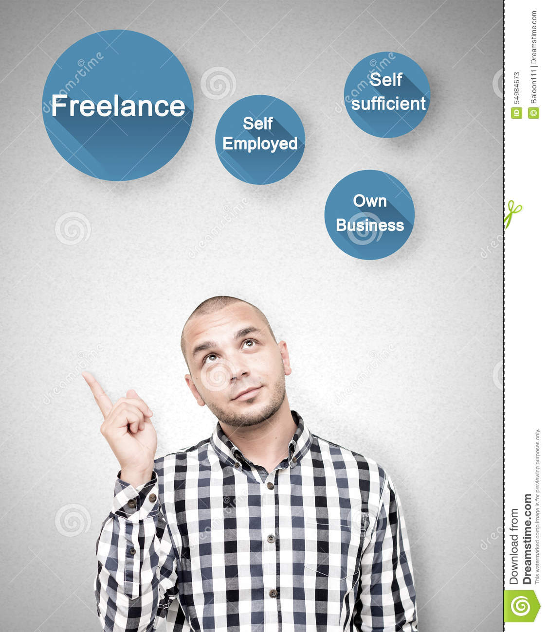 Young man shows freelance work benefits