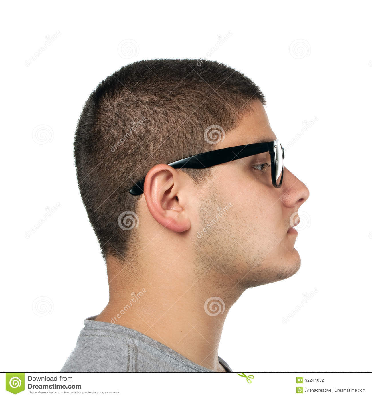 Young man side profile stock photo image of contentment