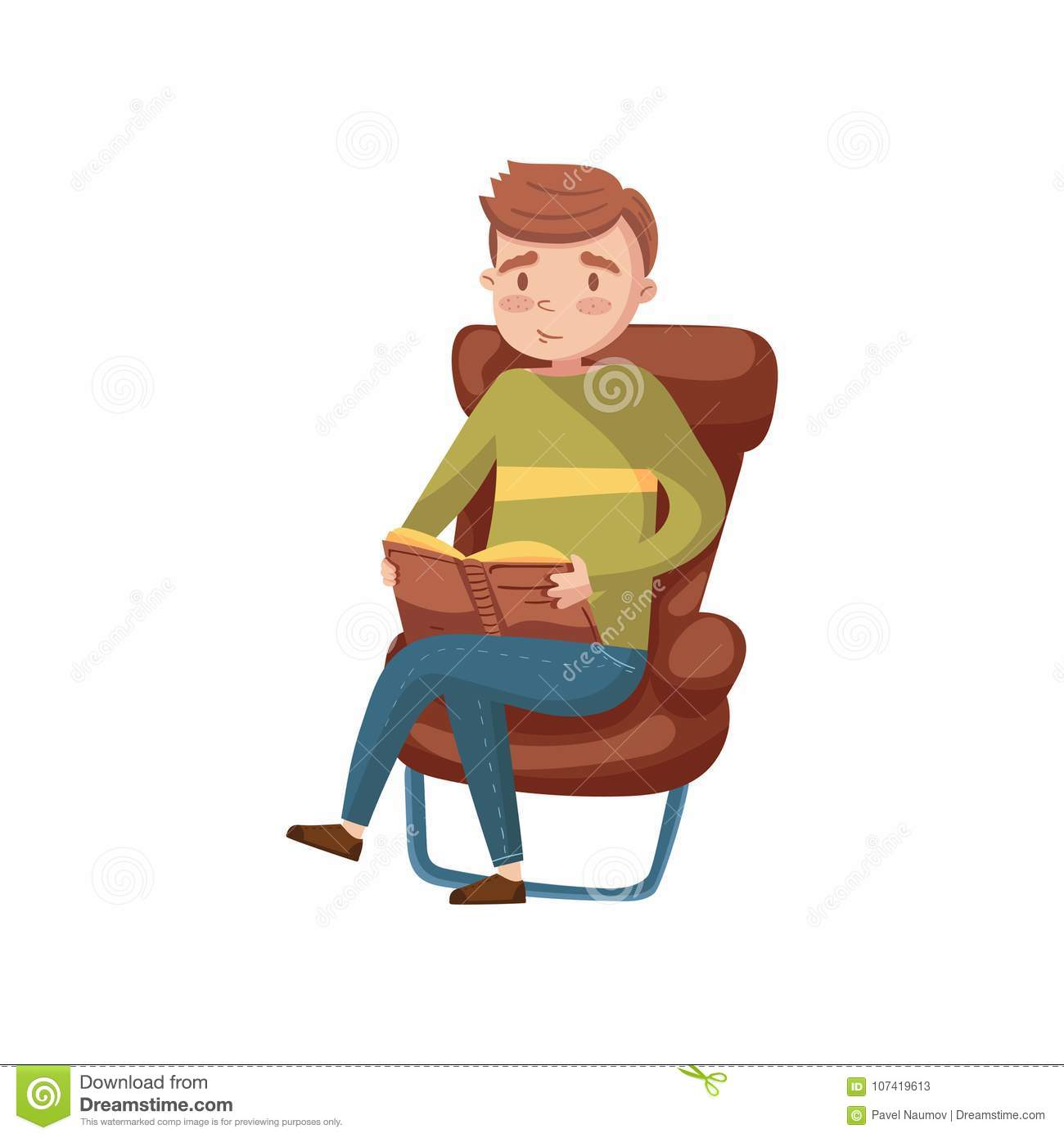 Young Man Sitting On The Chair And Reading A Book Cartoon