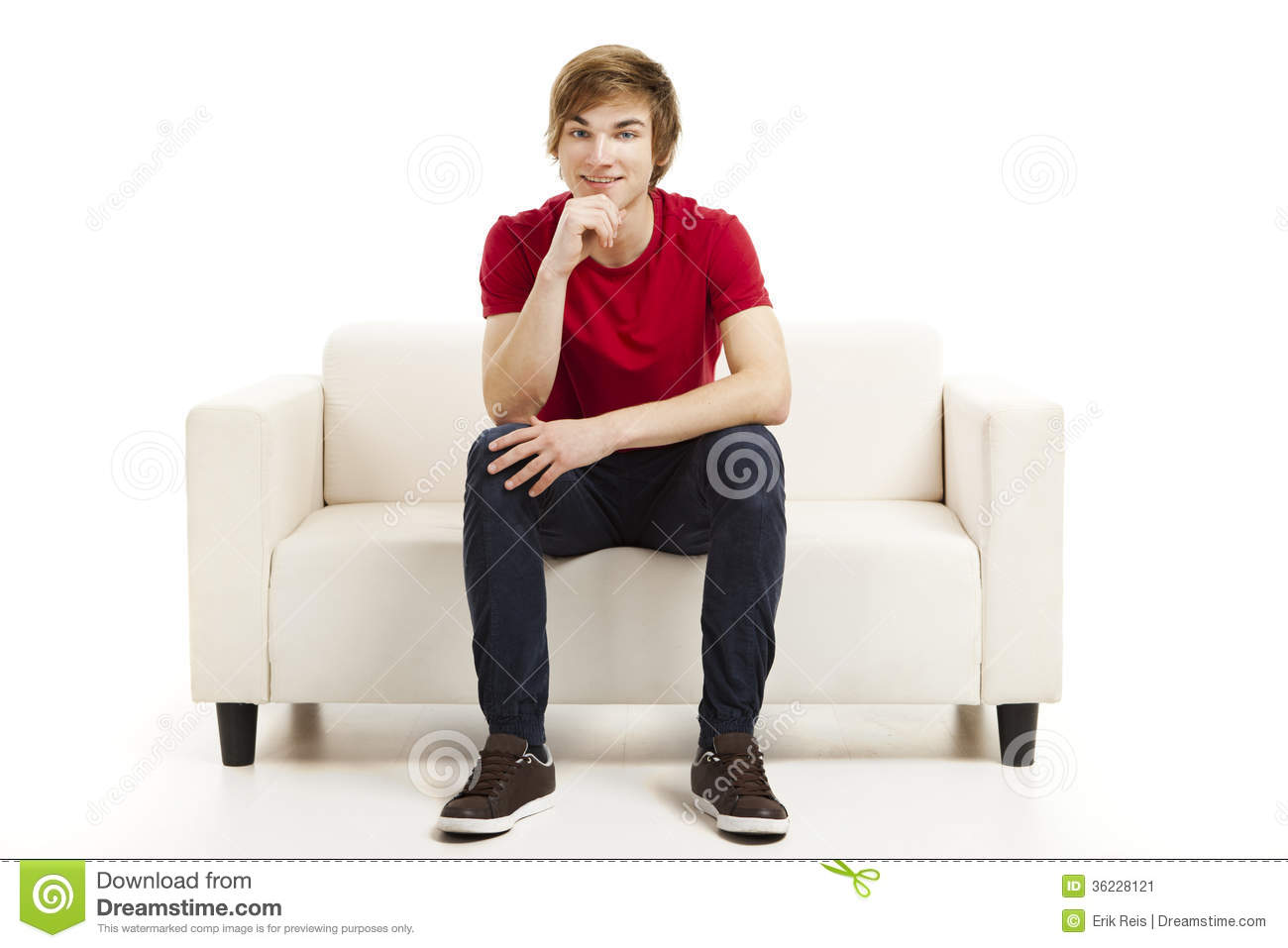 young man sitting on the couch stock image image 36228121. Black Bedroom Furniture Sets. Home Design Ideas