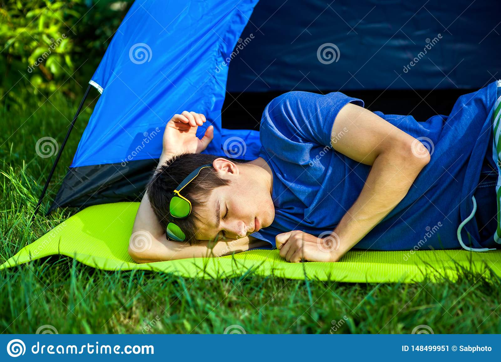 Young Man sleep outdoor