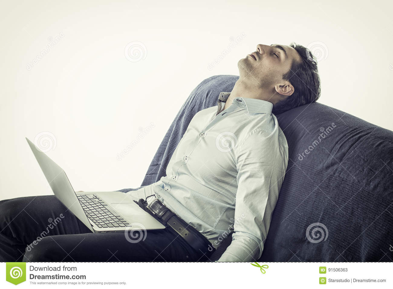 Miraculous Young Man Sleeping With Computer On Couch Stock Image Unemploymentrelief Wooden Chair Designs For Living Room Unemploymentrelieforg