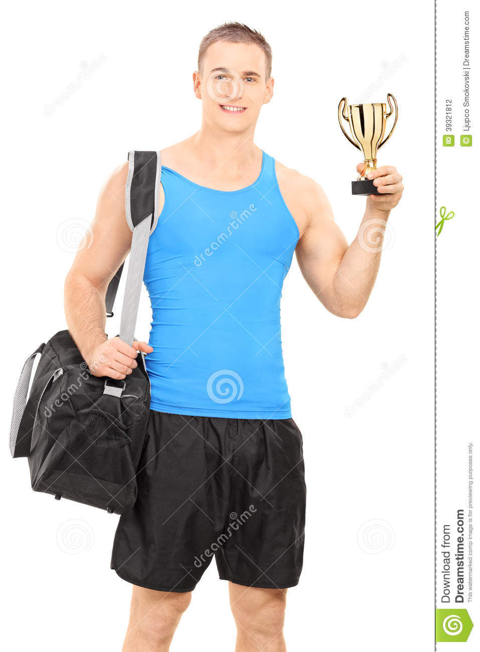 Young Man With Sports Bag And A Trophy Stock Photo - Image of sport ... 6a233291d0