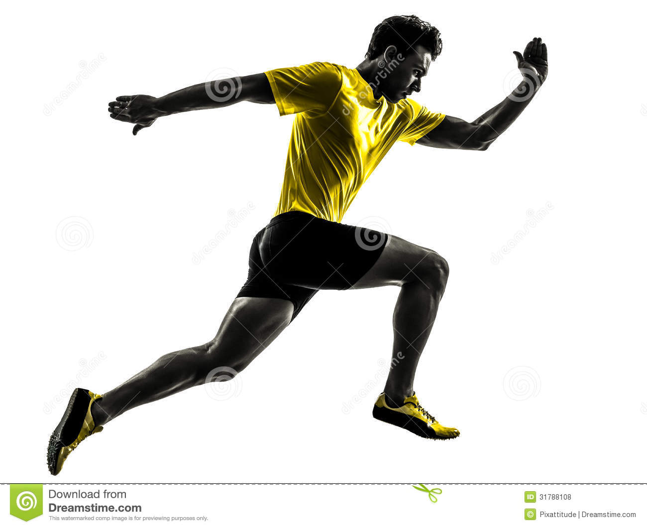 Download Young Man Sprinter Runner Running Silhouette Stock Photo - Image of side, shot: 31788108