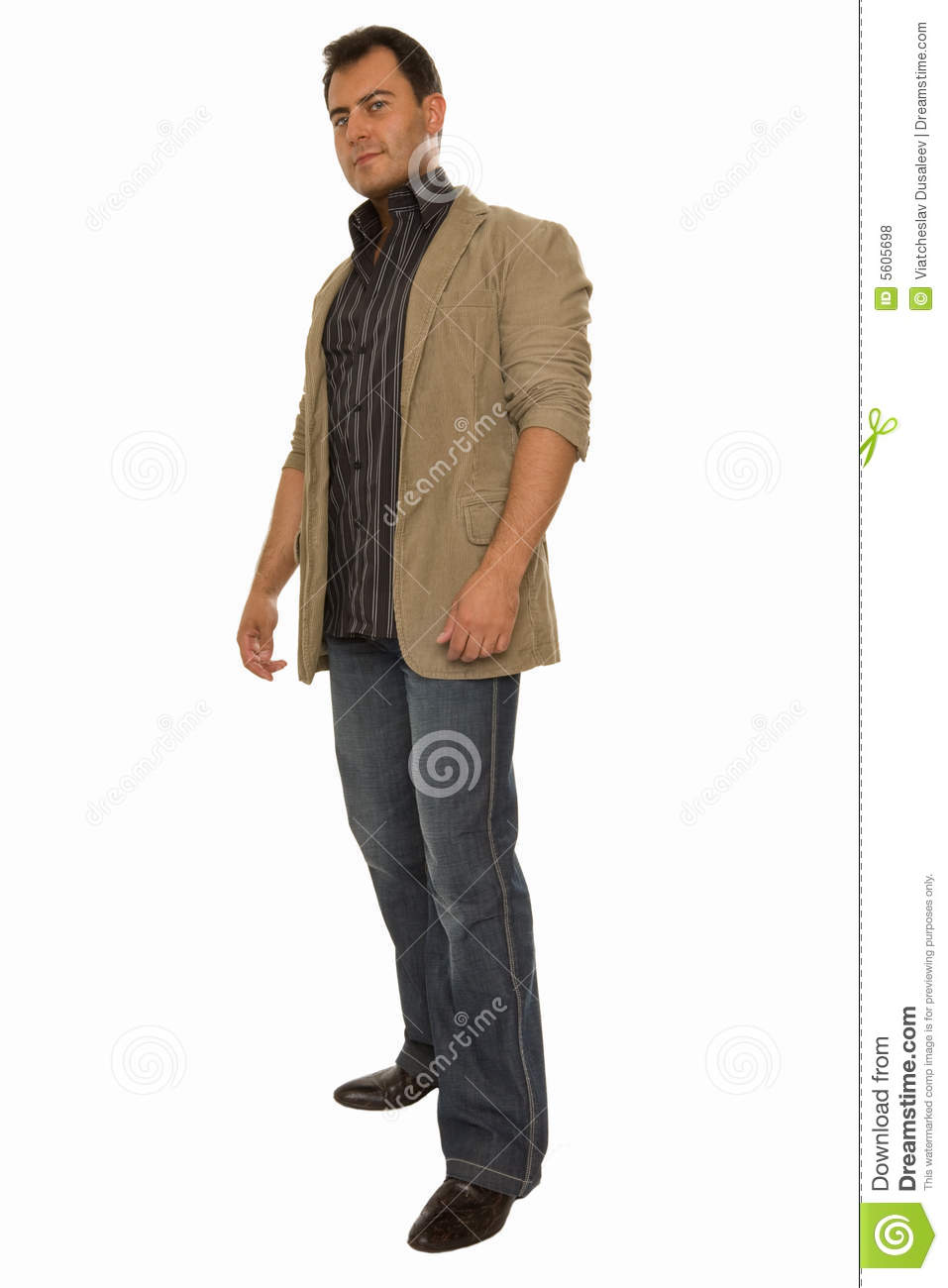 Young Man Standing Half-tuned Stock Photo - Image of ...