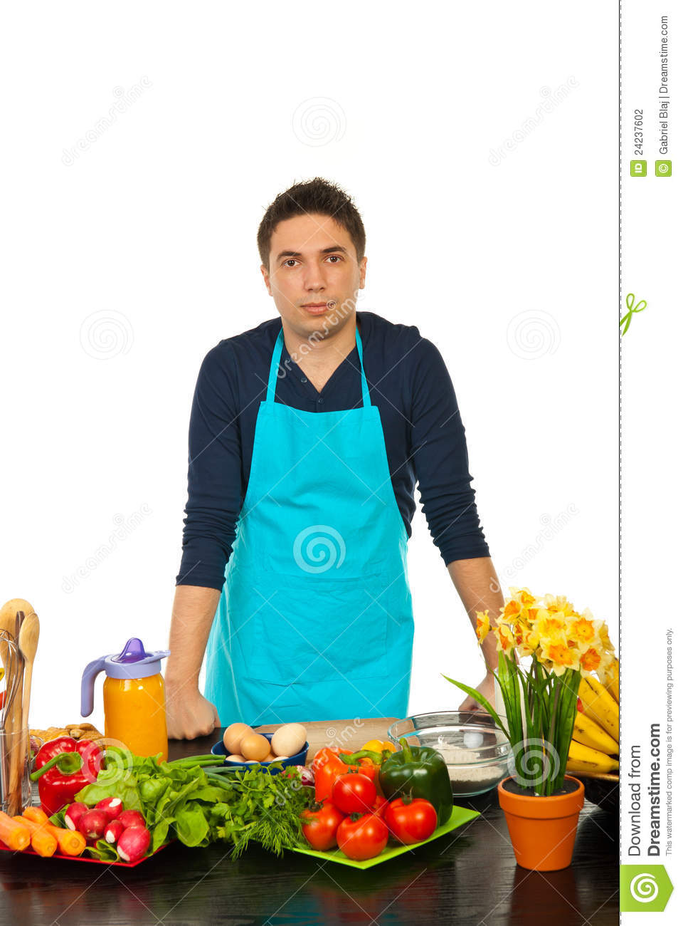 Young Man Standing In Kitchen Stock Photo - Image of handsome ...