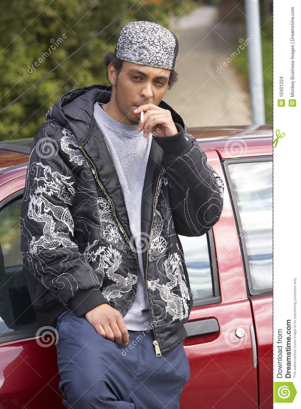 Young Man Standing Next To Car Stock Photo - Image of ...