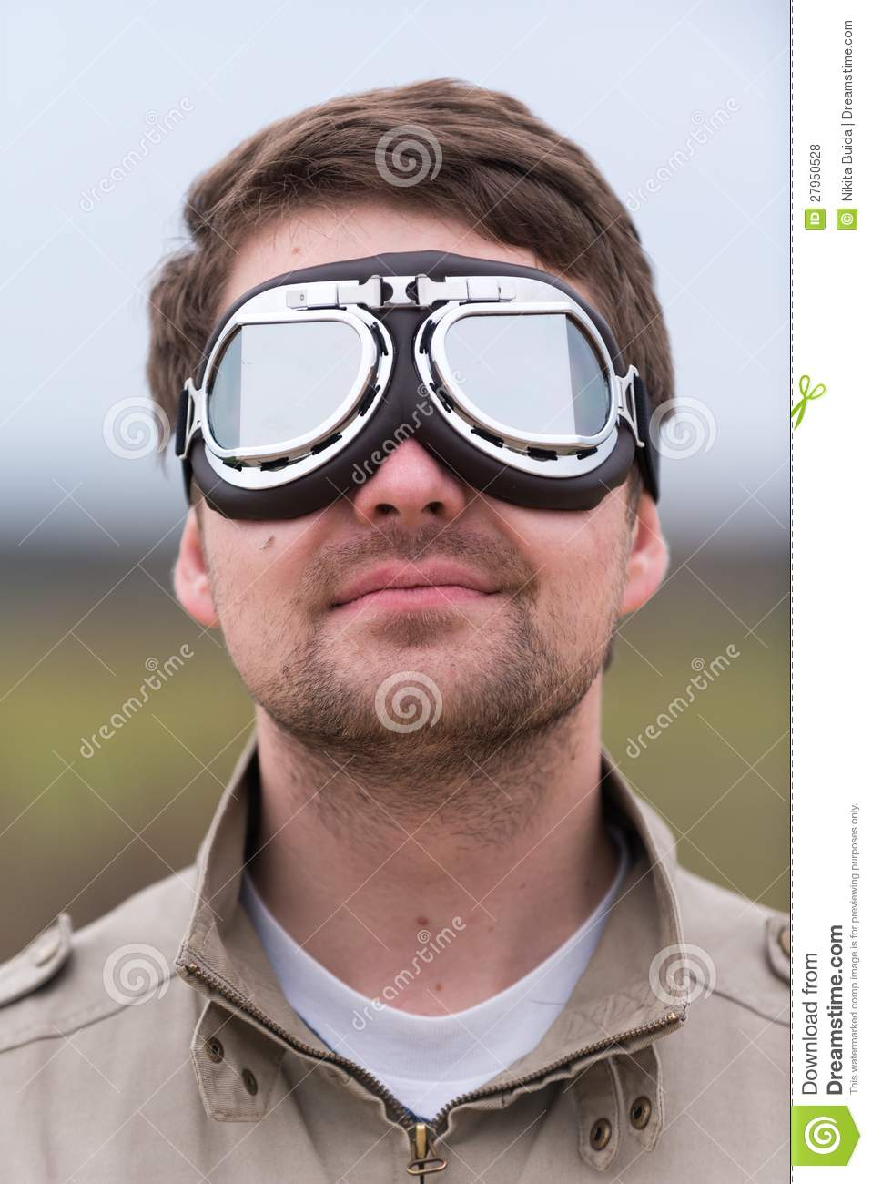 Young Man With Steampunk Aviator Goggles Royalty Free
