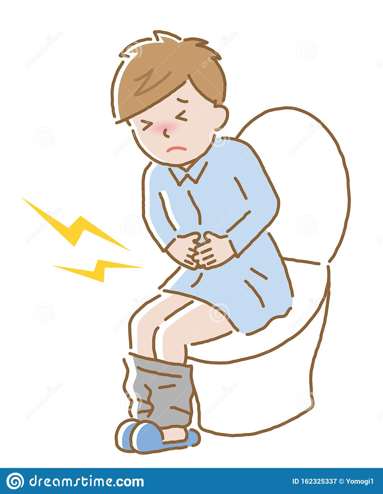 Young Man Suffering From Abdominal Pain On Toilet Seat ...