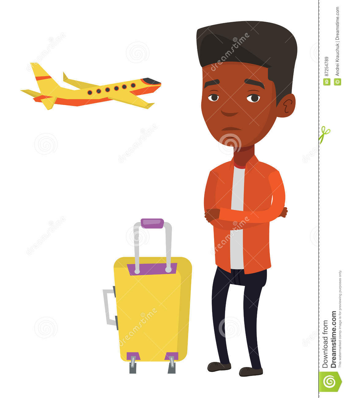 Young man suffering from fear of flying.