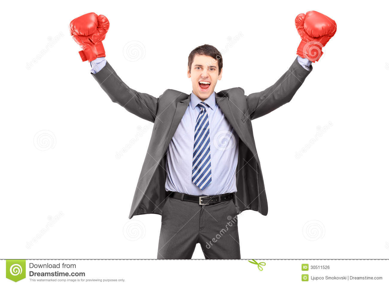 Young Man In A Suit And Boxing Gloves Celebrating Stock