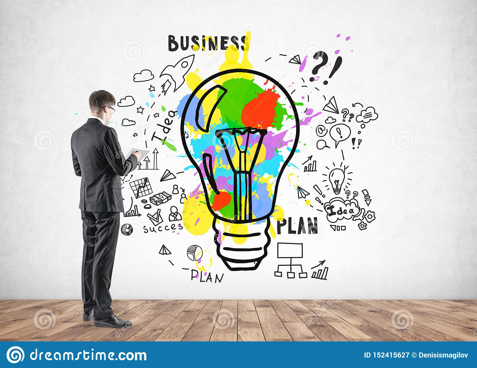 Young Man In Suit Looking At Business Idea Sketch Stock Image Image Of Idea Concept 152415627