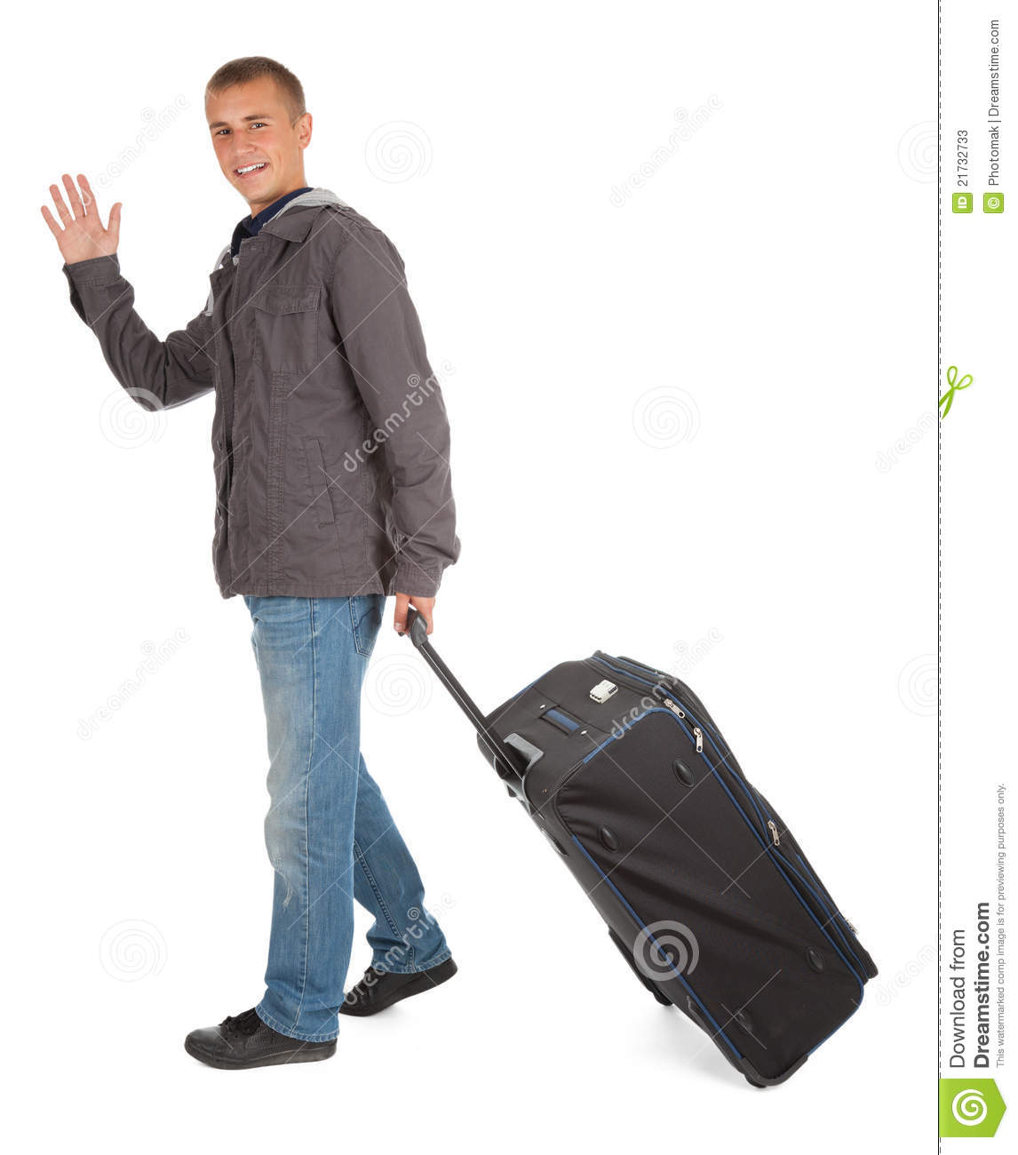 United Baggage Prices Young Man With Suitcase Waving Hello Full Length Stock