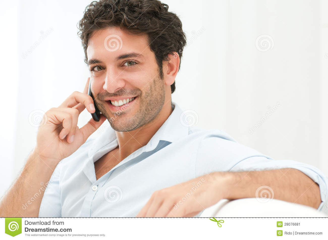 royalty free stock photography good looking talking cell phone image