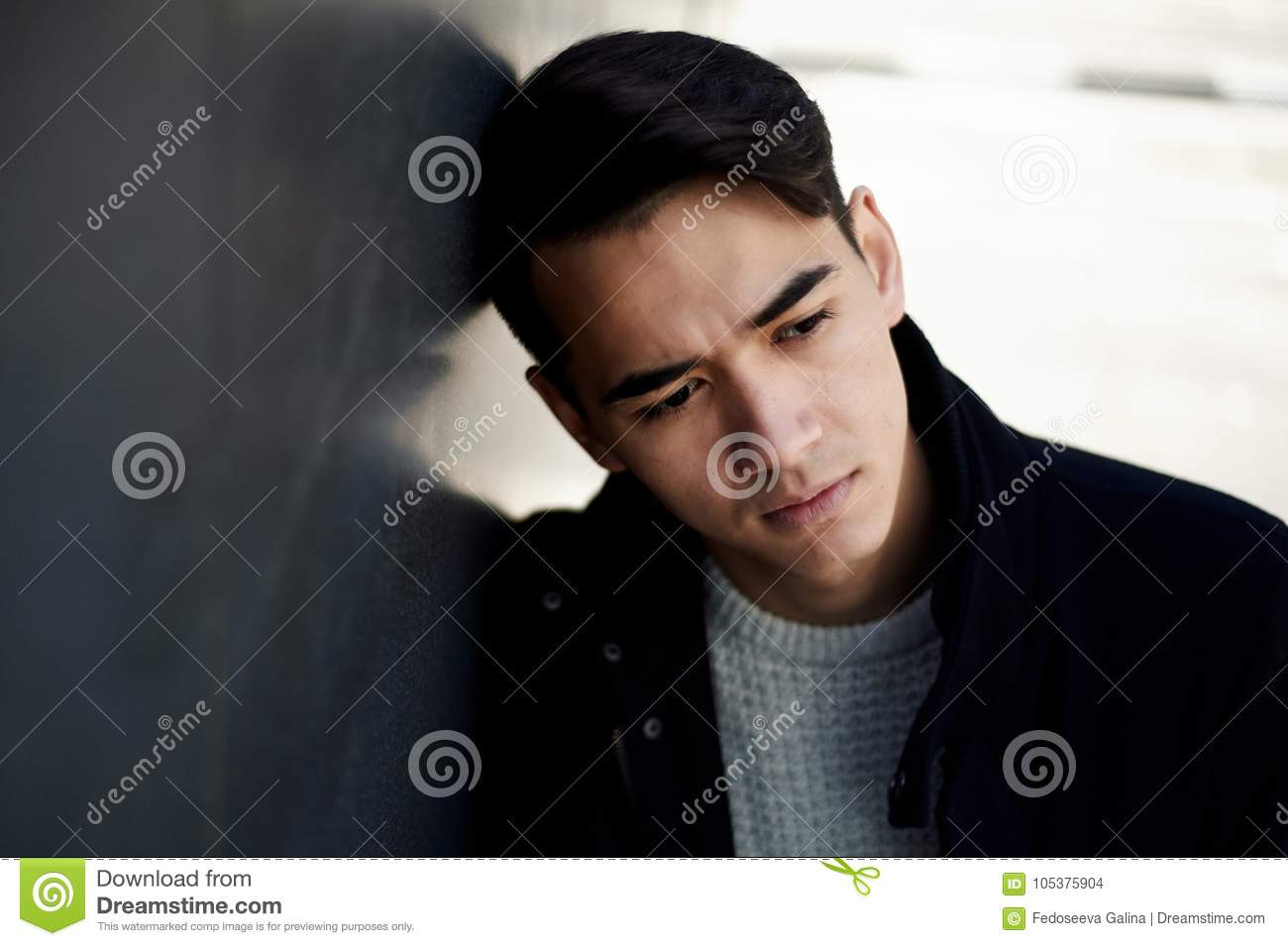 A Young Man Thin With Dark Hair And Brown Eyes Portrait Model