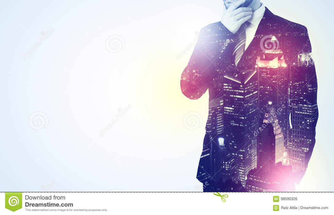 Young Man Thinking With City Wallpaper Stock Photo Image Of Career