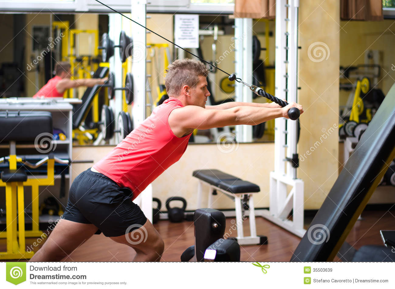 Young Man Training On Gym Equipment Stock Image Image Of