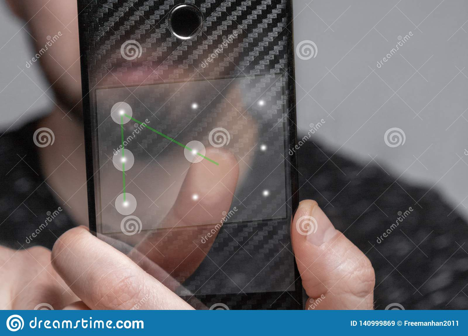 The young man uses the template ID to unlock the phone