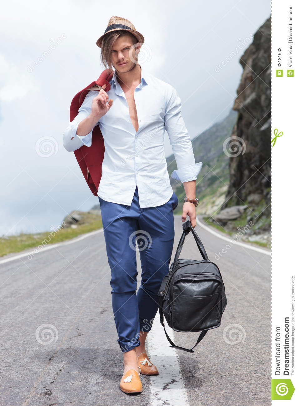 Young Man Walking With Bag On The Road Royalty Free Stock Photos ...