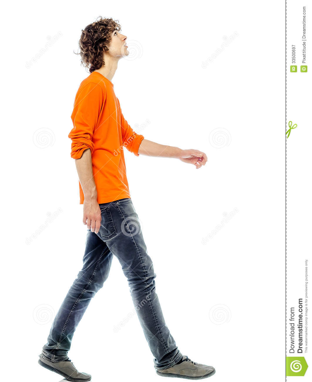 Young Man Walking Looking Up Side View Stock Image Image