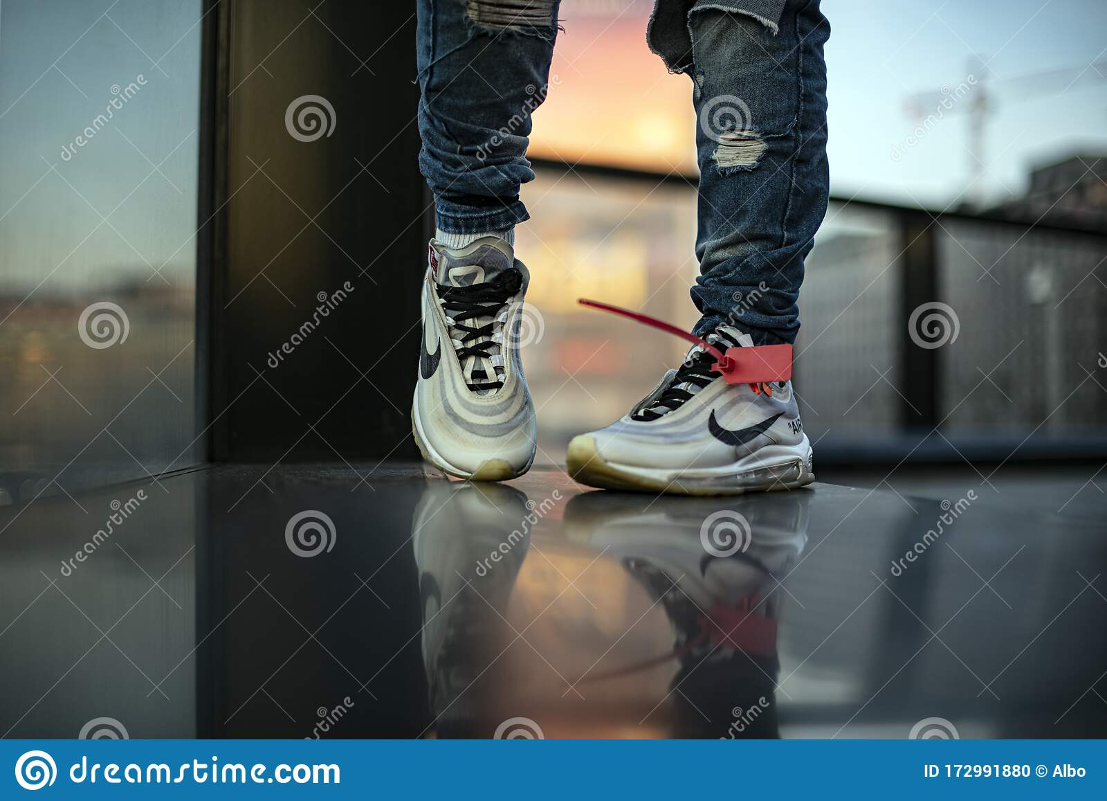 air max 97 white on feet men