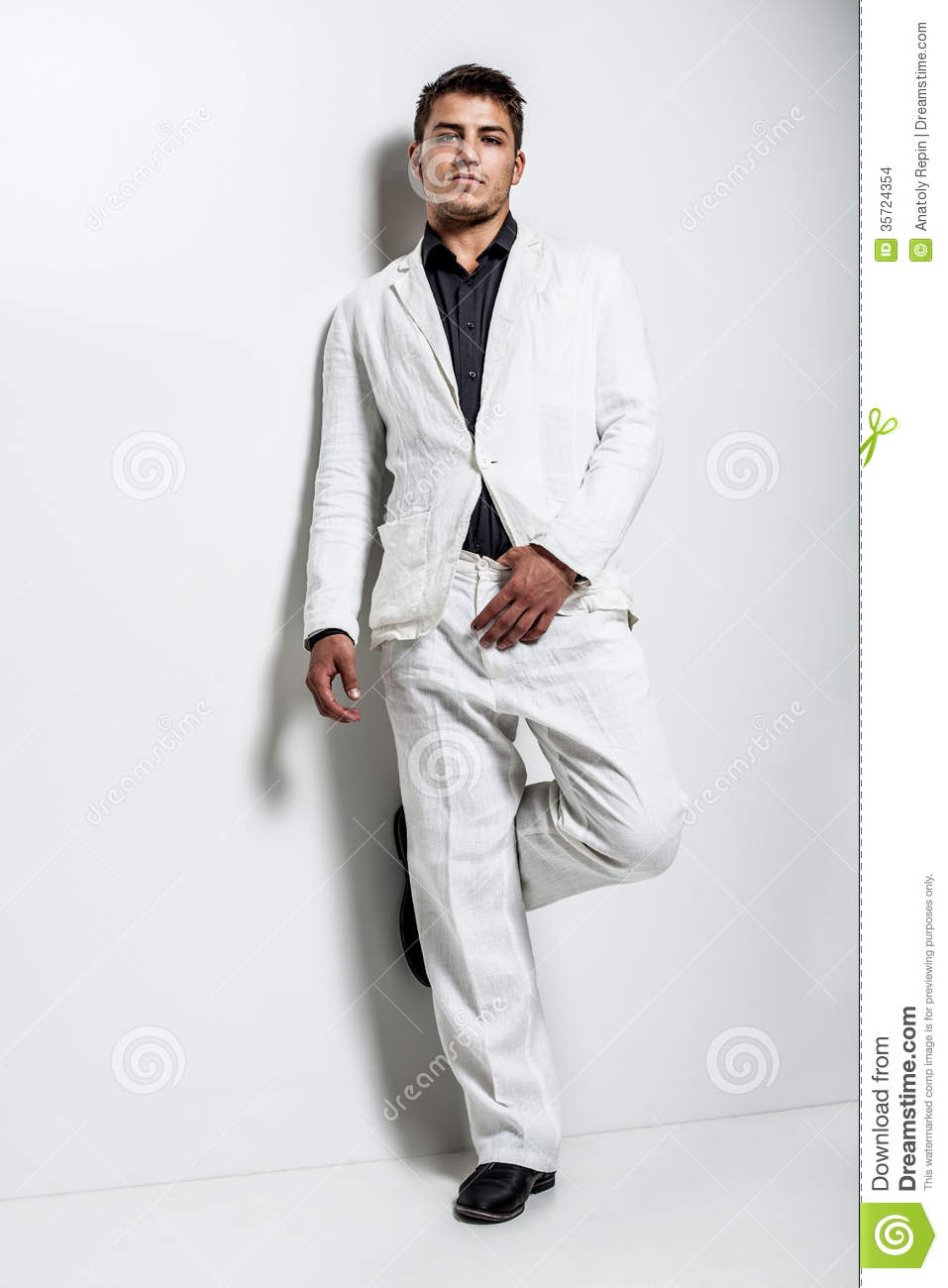 young man wearing white suit stock images image 35724354. Black Bedroom Furniture Sets. Home Design Ideas