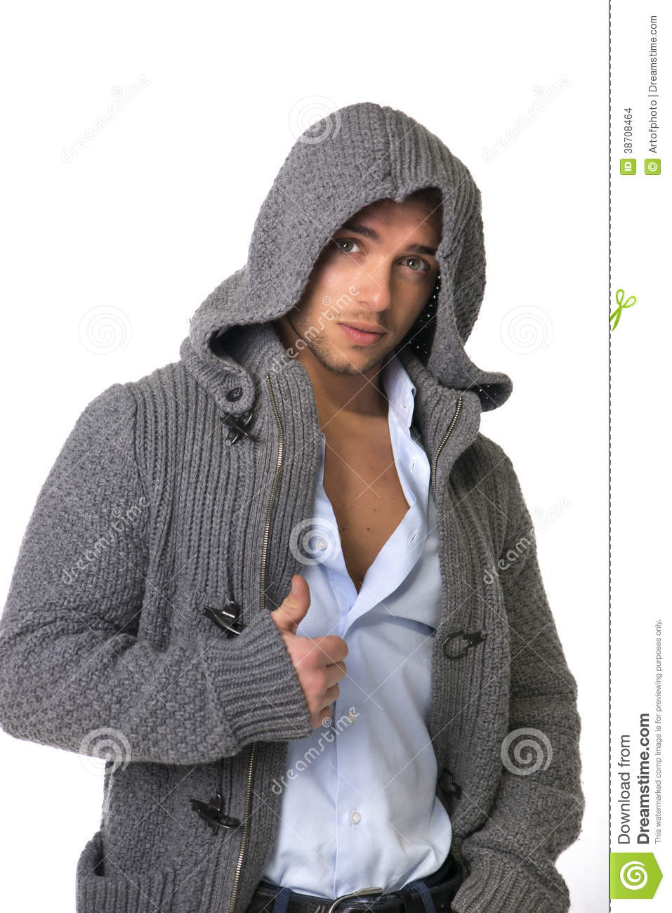Young man wearing winter hoodie sweater stock images for This guy has an awesome girlfriend shirt