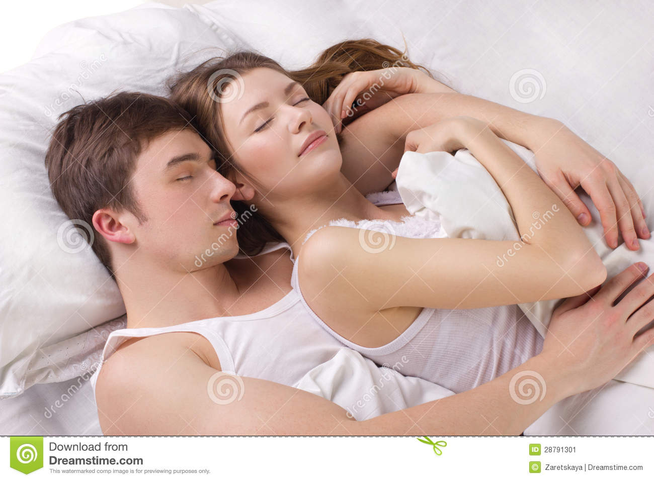 man and woman in the bed