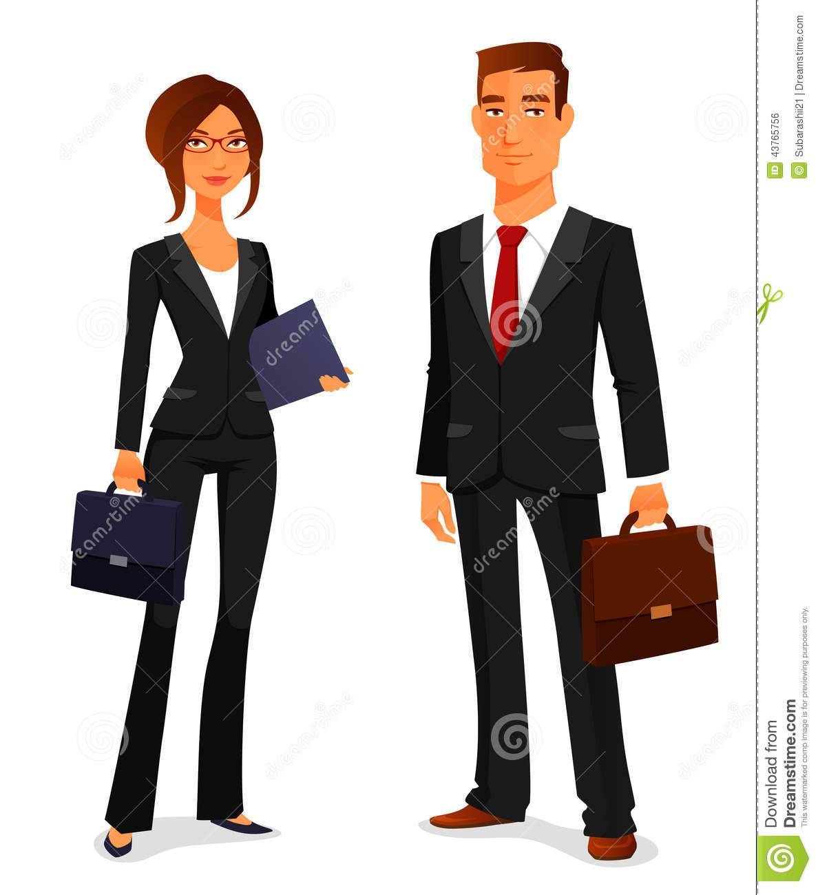 Young Man And Woman In Business Suit Stock Vector - Image