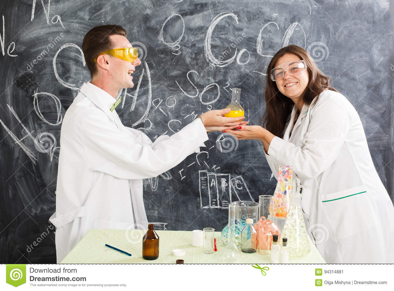 Chemistry man and woman