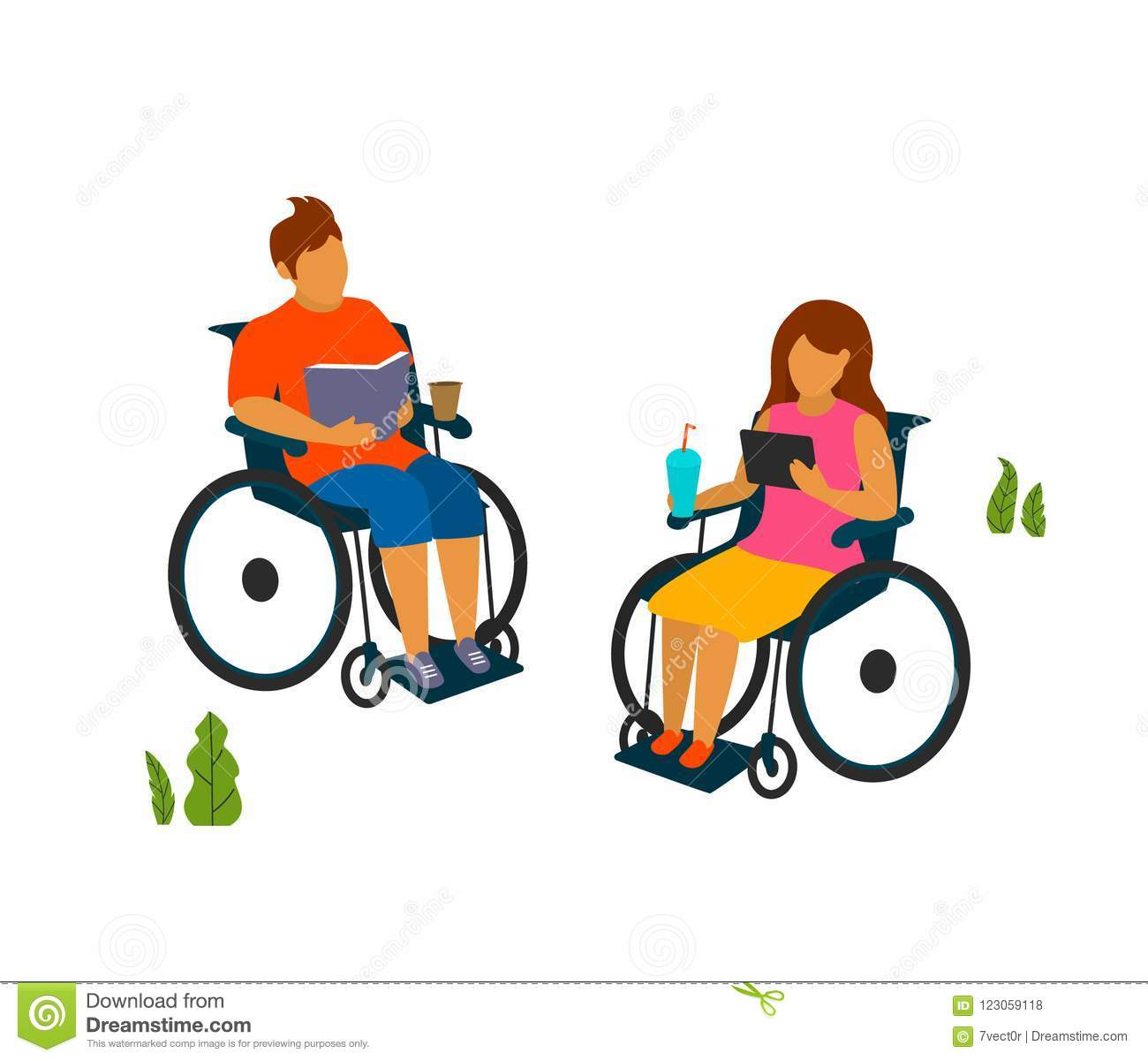 Young man and woman with disabilities spend time in the park reading vector illustration