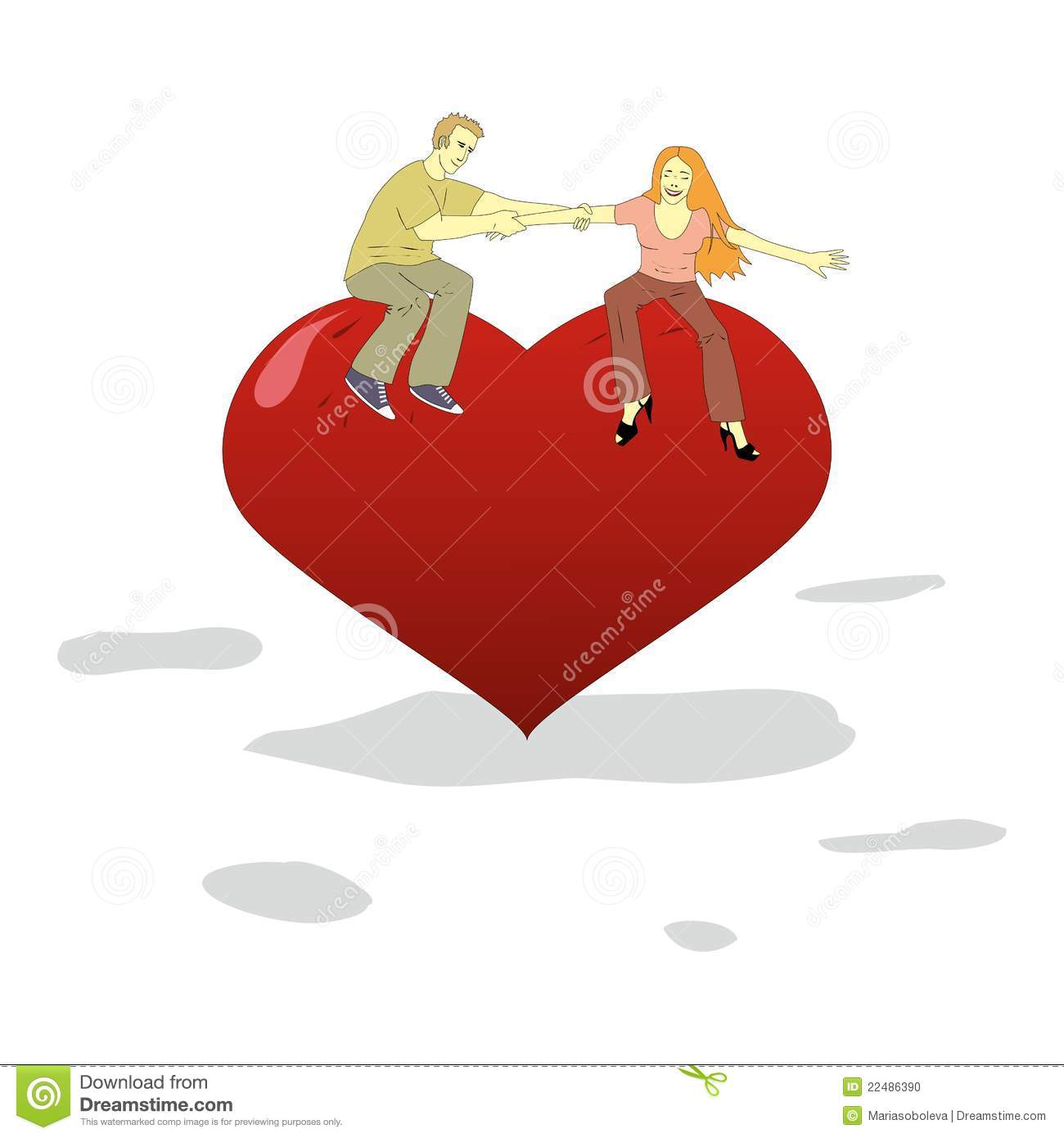 Young man and woman have fun on a big heart