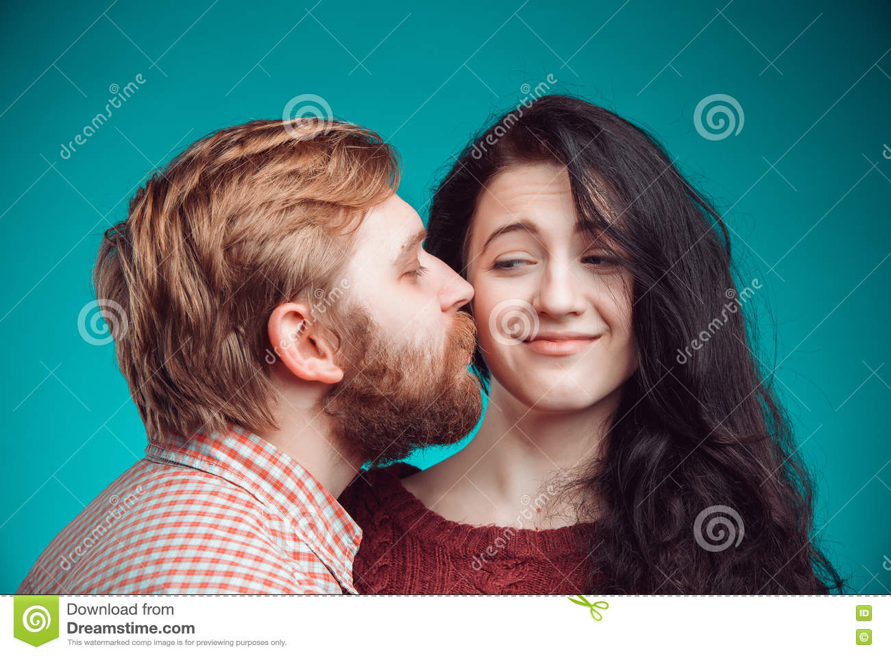 Man and woman kissing stock photos